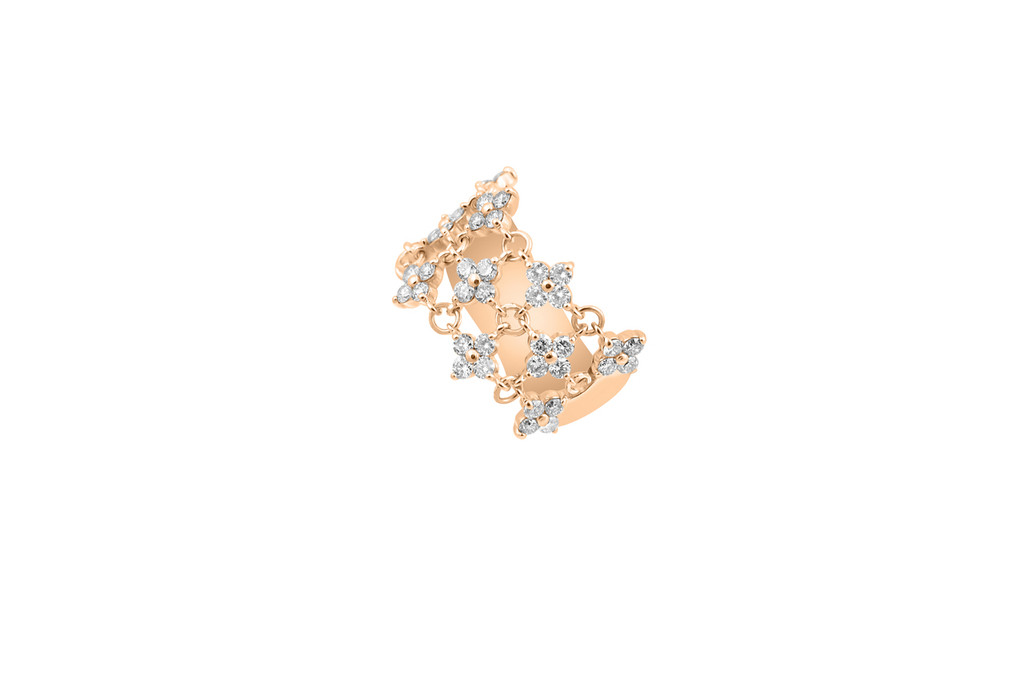Champagne Diamond 14K Rose Gold Intricate Flower Motif Diamond Ring