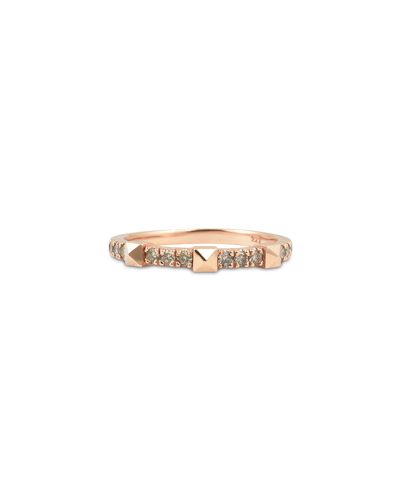 Champagne Diamond 14K Rose Gold Pyramid Stackable Ring