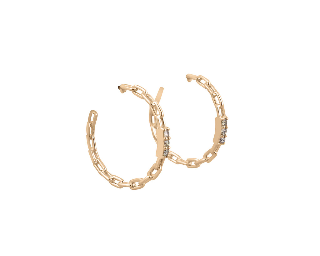 Champagne Diamond 14K Gold Chain Link Hoop Earrings