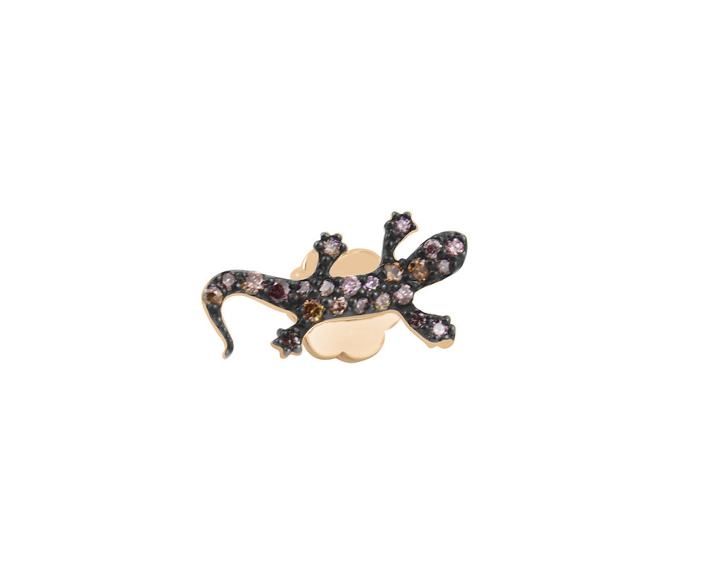 Multi-Pink Diamond 14K Rose Gold Salamander Stud