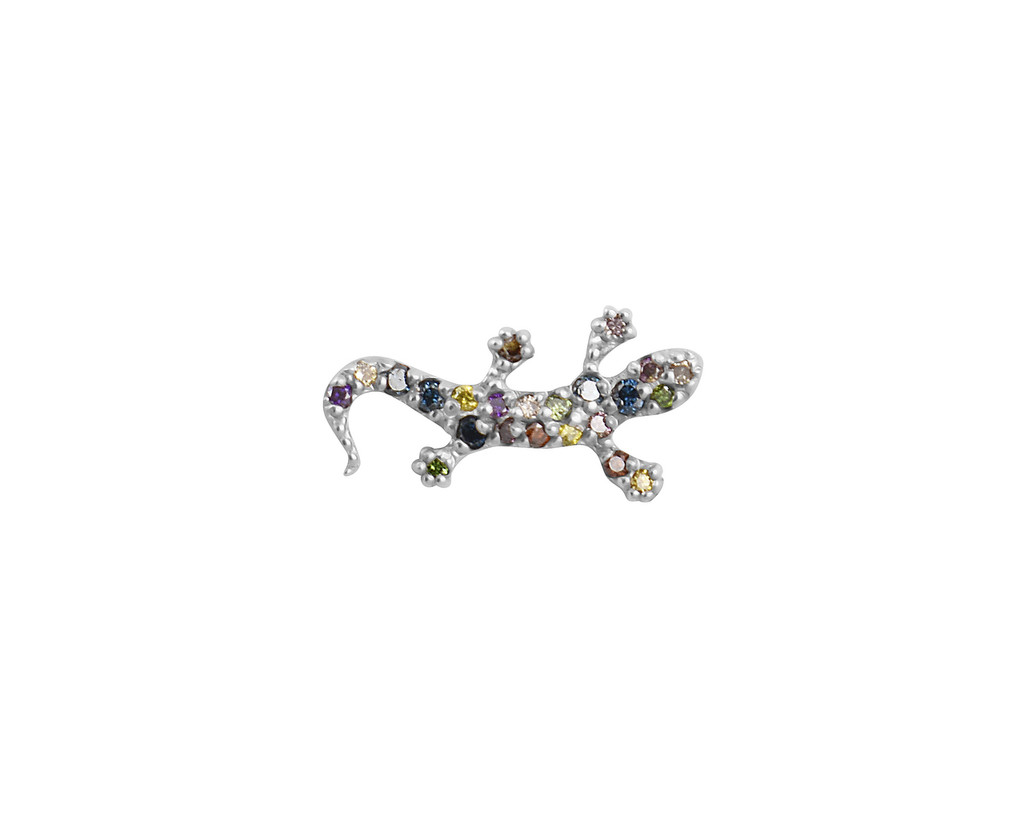Rainbow Diamond 14K Gold Salamander Stud Earrings
