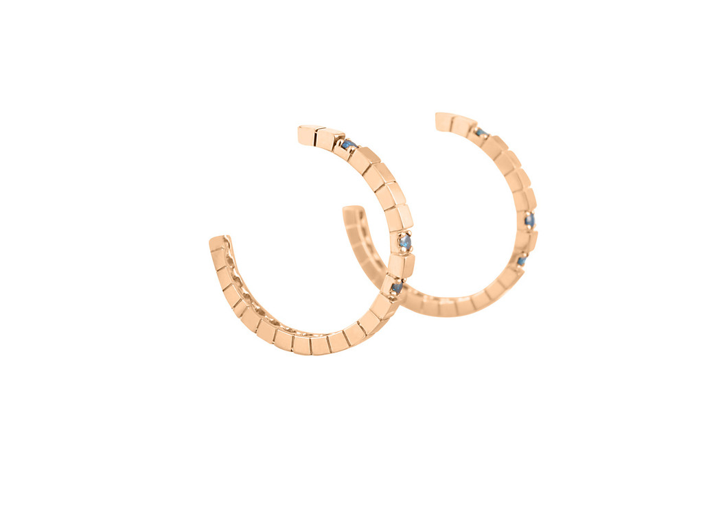 Blue Diamond 14K Rose Gold Textured Hoop Earrings