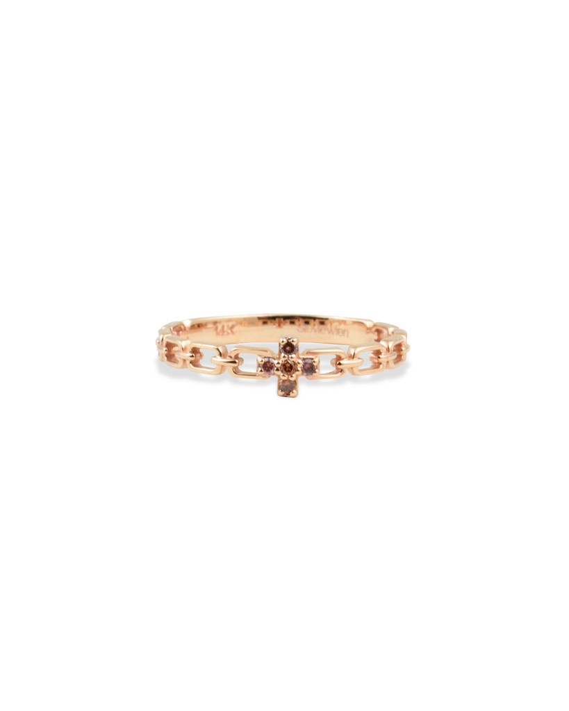 Pink Diamond 14K Rose Gold Cross Chain Stacking Ring