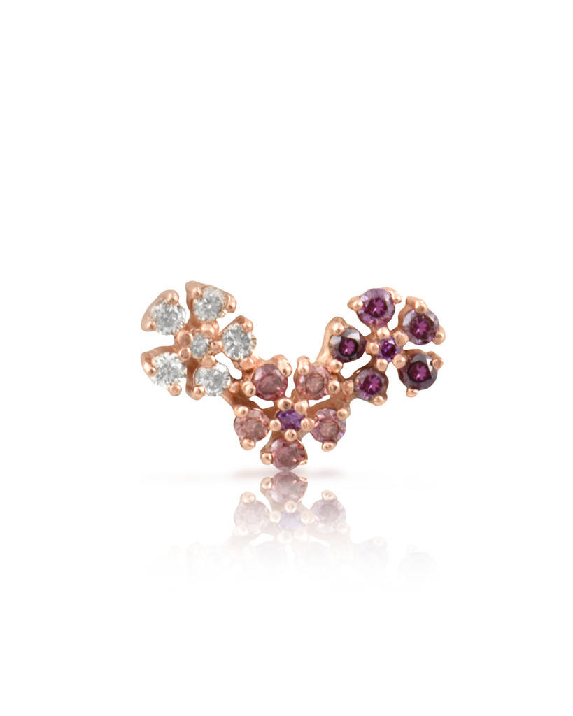 Multi-Pink Diamonds 14K Rose Gold Triple Daisy Single Stud