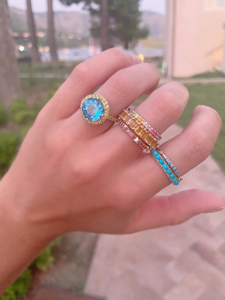Fancy Yellow Sapphire 14K Rose Gold Baguette Band Eternity Ring