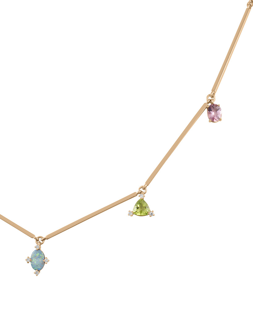 Garnet, Turquoise, Opal, Peridot, & Tourmaline 14K Gold Gem Charm Necklace with White Diamonds
