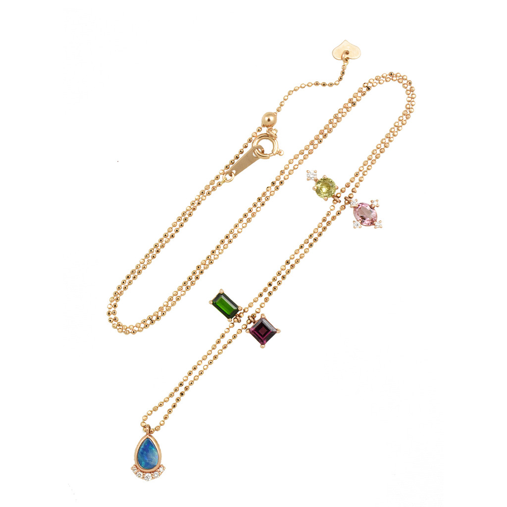 Garnet, Chrome Diopside, & Opal 18K Gold GemCharm Necklace with White Diamonds