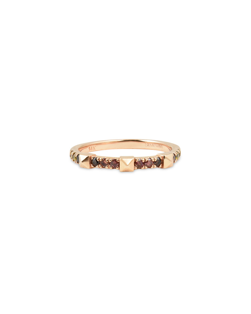 Pink Ombre Diamond 14K Rose Gold Pyramid Stacking Ring
