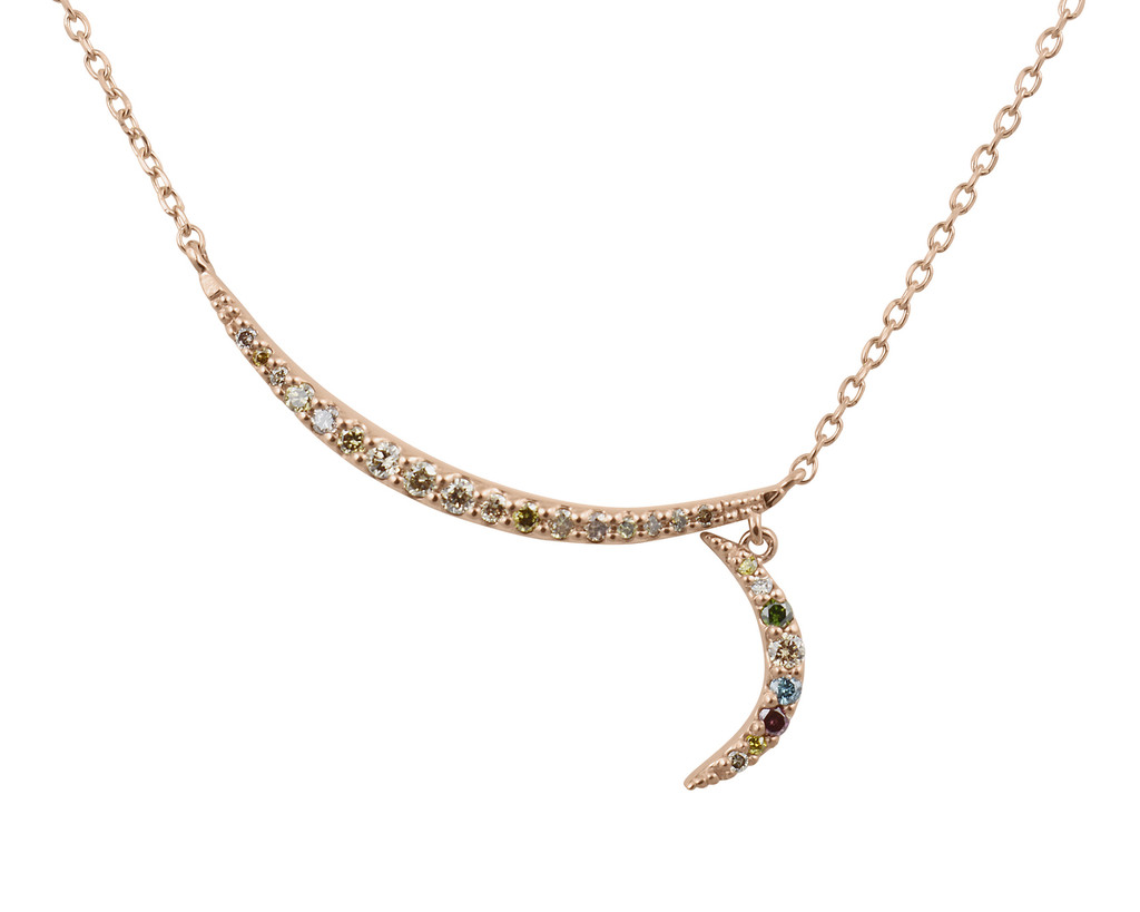 Rainbow Diamond 14K Rose Gold Double Crescent Moon Necklace