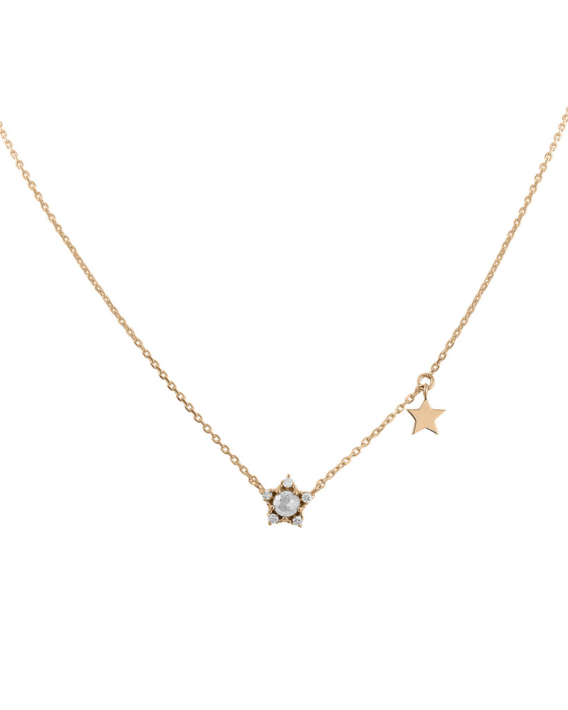 Rose Cut Diamond 14K Mini Star Necklace
