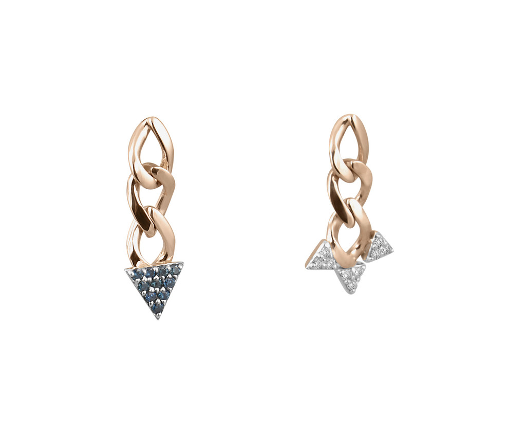 Mis-Matched Blue and White Diamonds 14K Rose Gold Mis-Matched Spike Chain Post Earrings