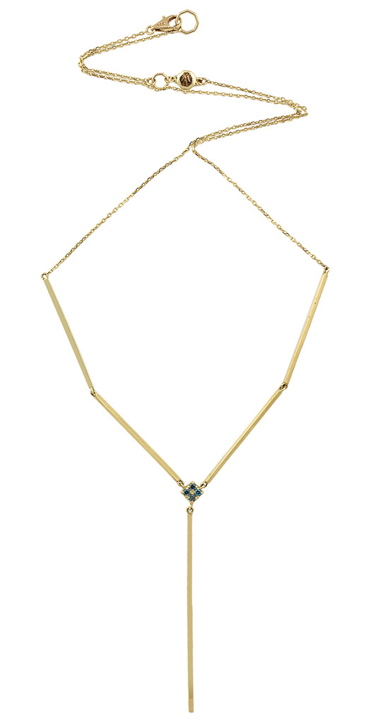 "Blue Diamond 14K Yellow Gold Solid Bar ""Y"" Moveable Necklace"