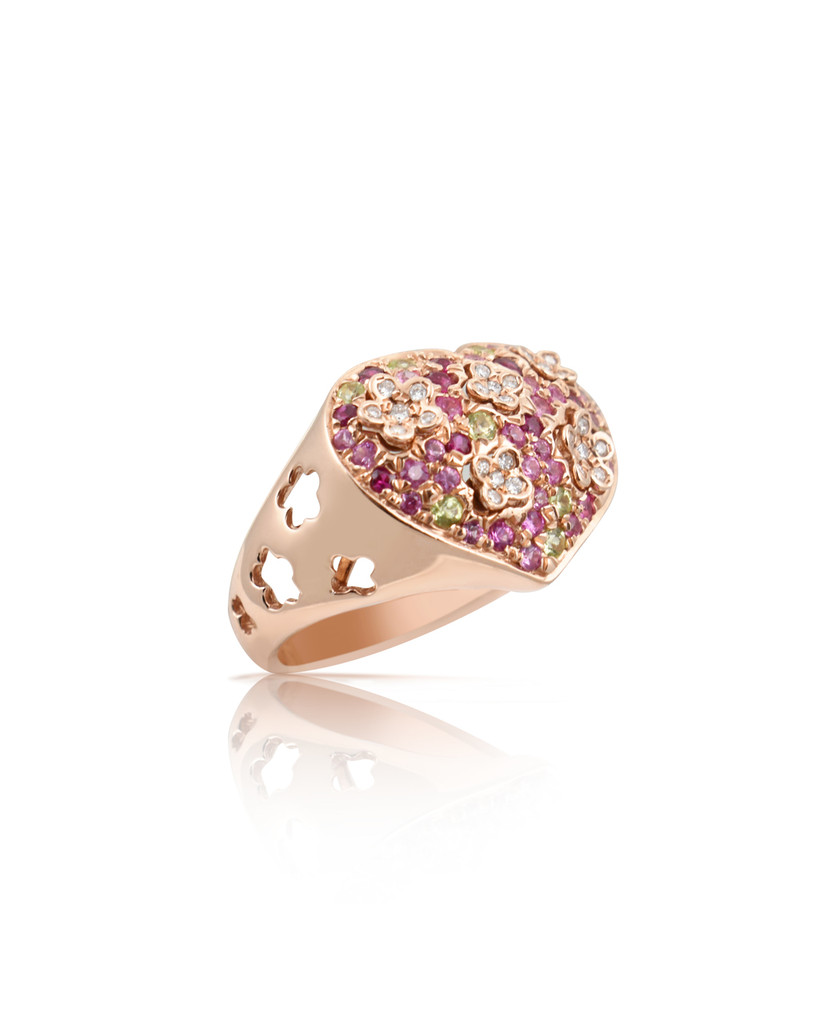 Diamonds 14K Rose Gold Semi-Precious Stones Large Cigar Style Paved Heart Ring