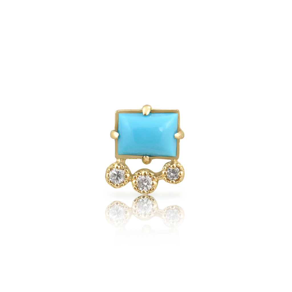 White Diamond 14K Yellow Gold & Turquoise Geometric Single Stud