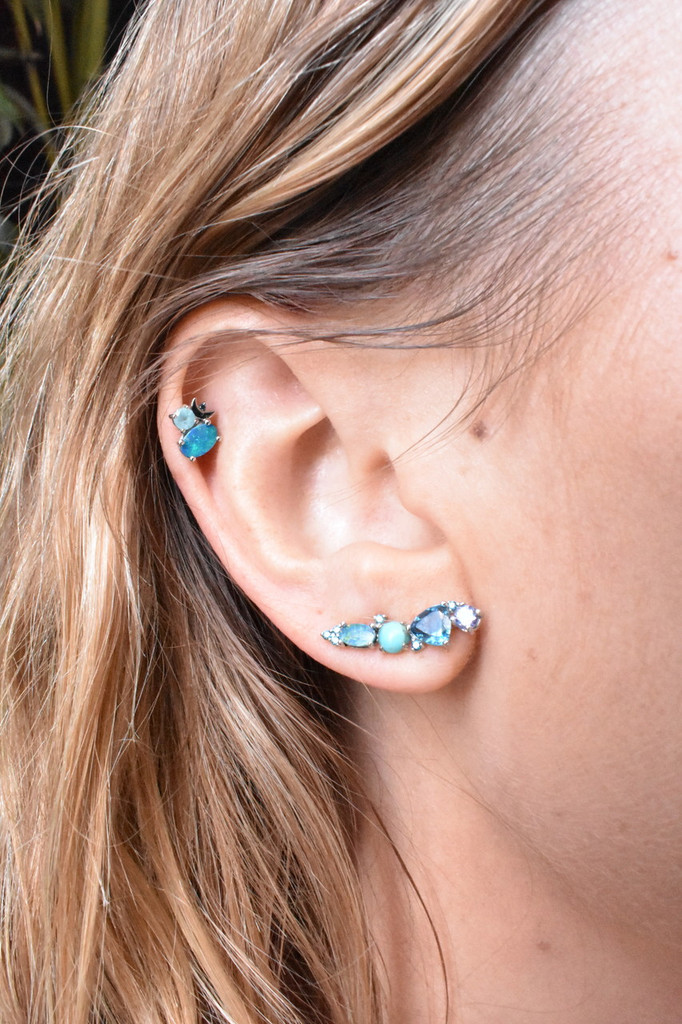 Blue Diamond 14K White Gold Opal & Semi-Precious Stone Single Stud with Moon