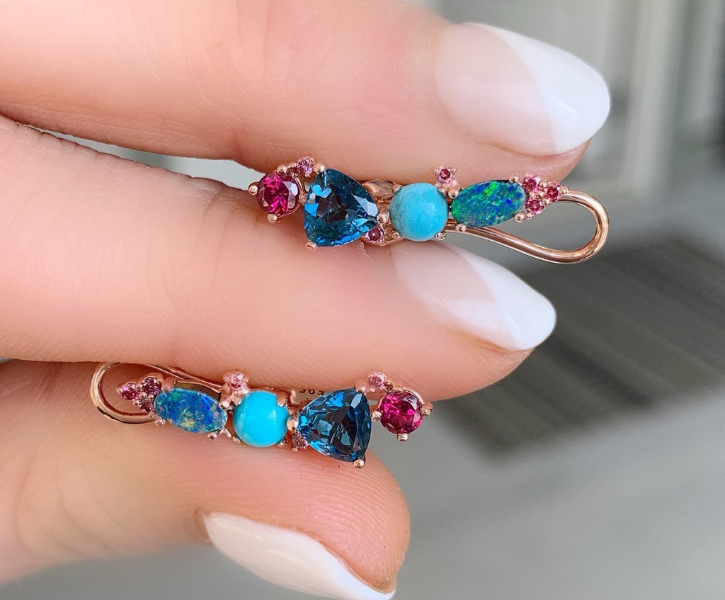 Blue Topaz Diamond 14K Rose Gold Opal Diamond Ear Climbers