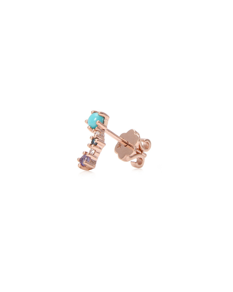 White Diamond 14K Rose Gold Mini Curved Climber (Single, Left)