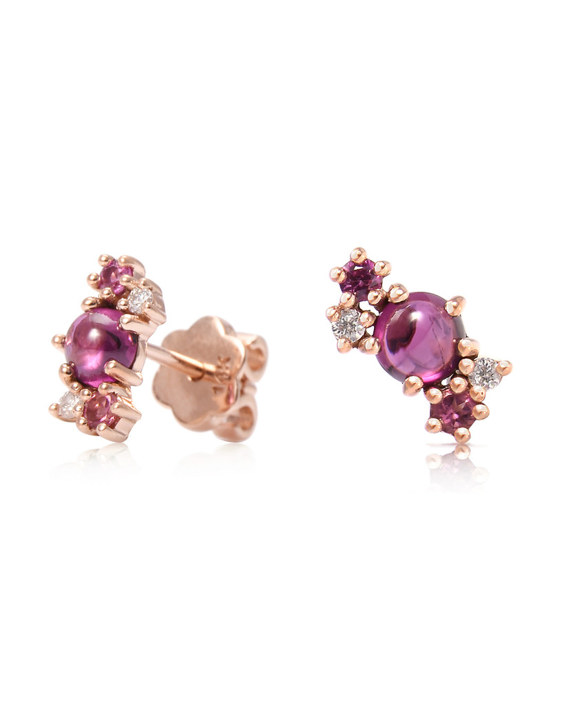 Diamond 14K Rose Gold & Semi-Precious Stone Mini Cluster Climbers (Single, Right)