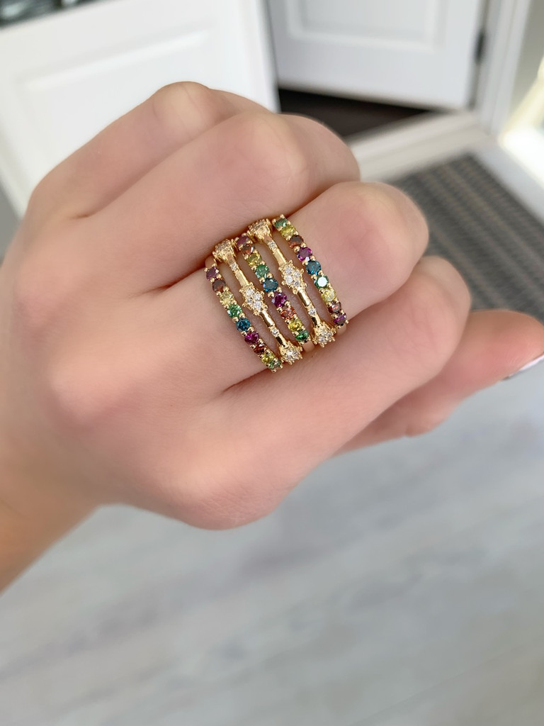 Rainbow Diamonds 14K Yellow Gold Semi-Precious Stone Stacking Band