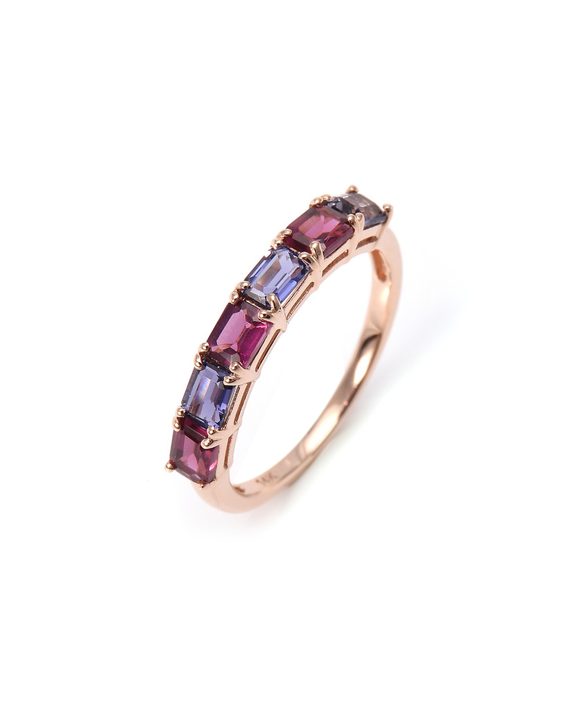 Emerald Cut 14K Rose Gold Semi-Precious Stone Ring