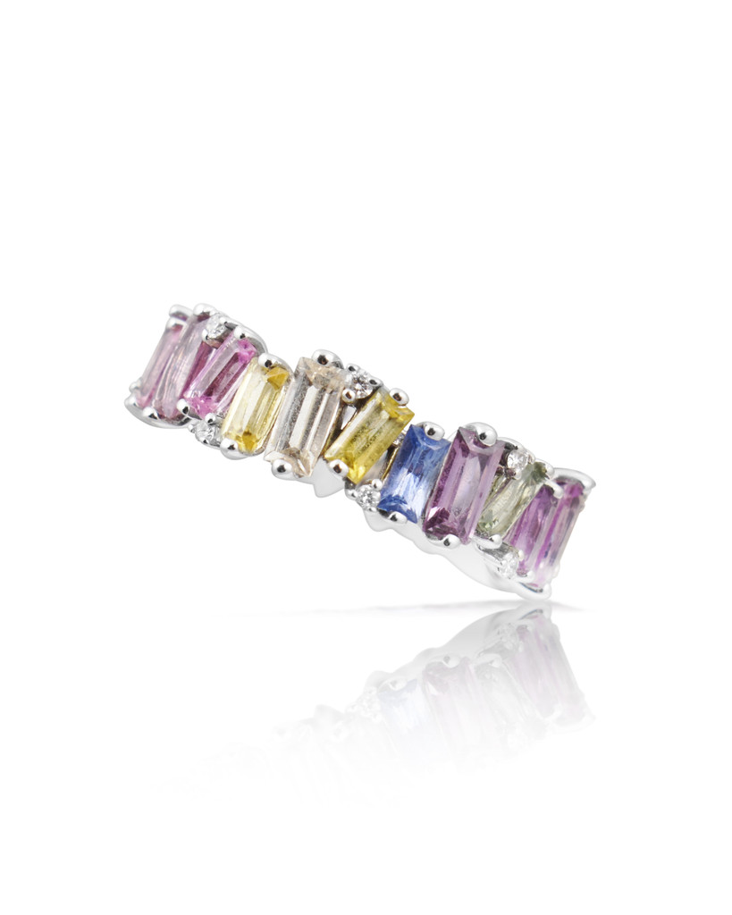 Diamond 14K White Gold Fancy Baguette Sapphire Thick Band