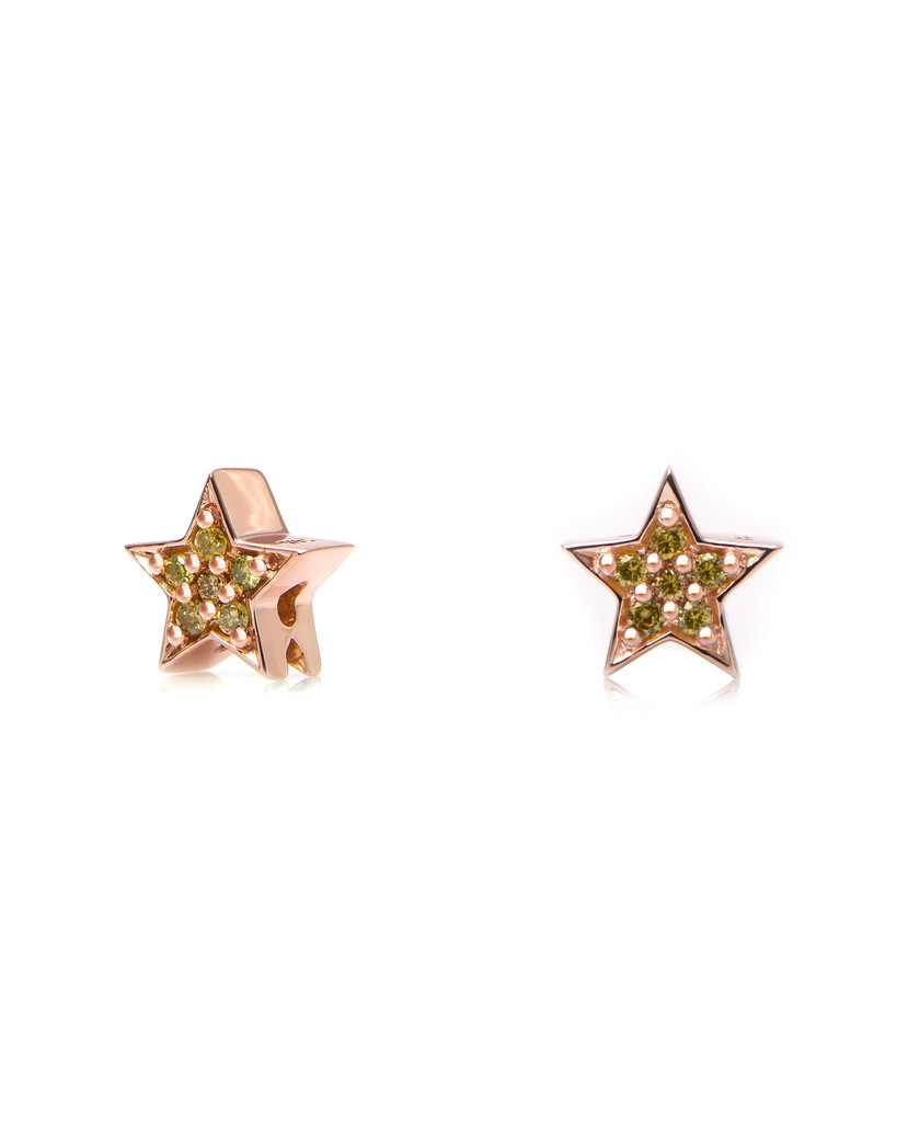 Paved Yellow Diamond 14K Rose Gold Star Charm