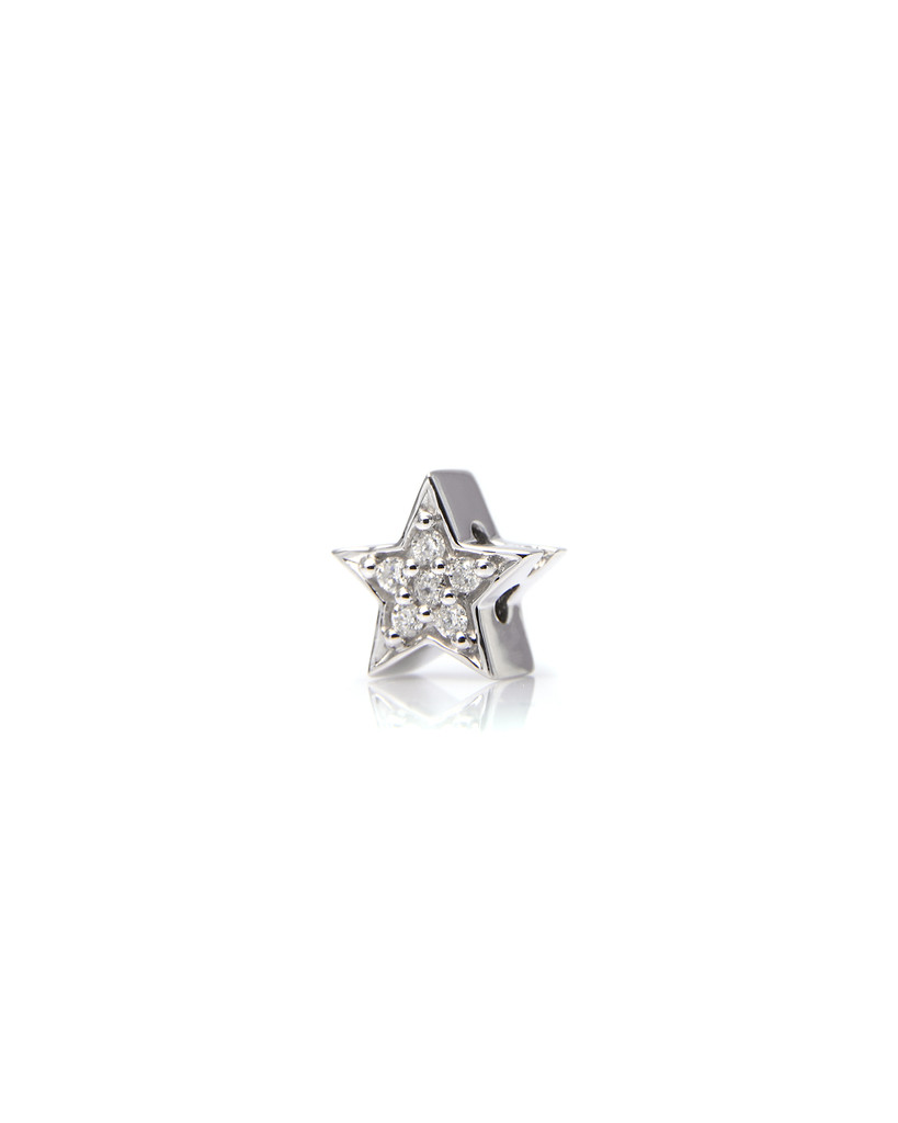 Paved White Diamond 14K White Gold Star Charm