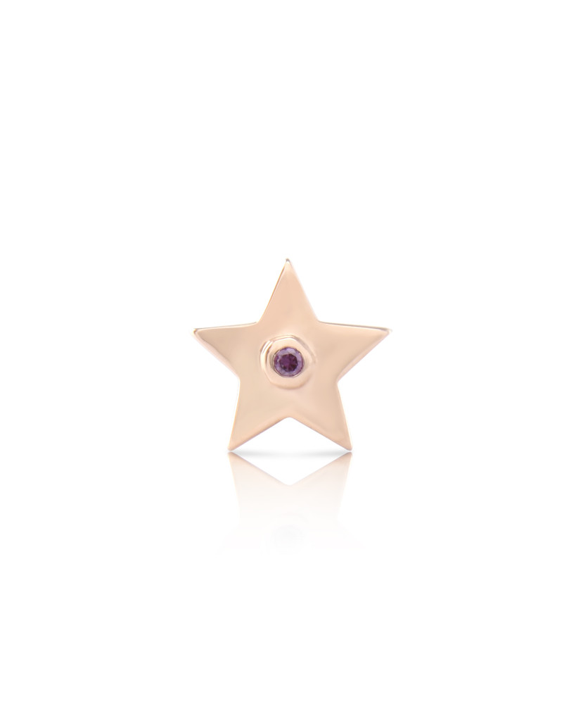 Paved Purple Diamond 14K Rose Gold Star Charm