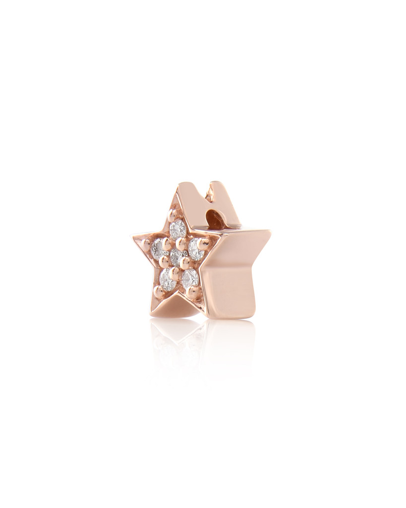 Paved White Diamond 14K Rose Gold Star Charm