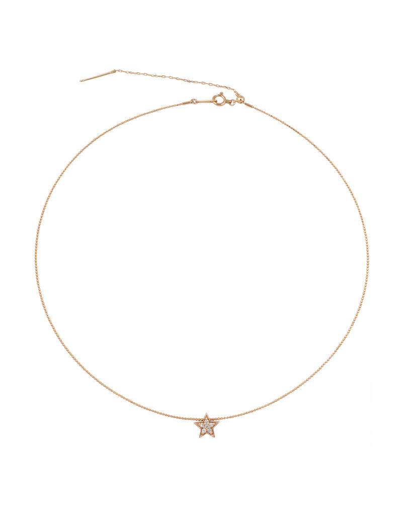 White Diamond 14K Rose Gold Star Charm