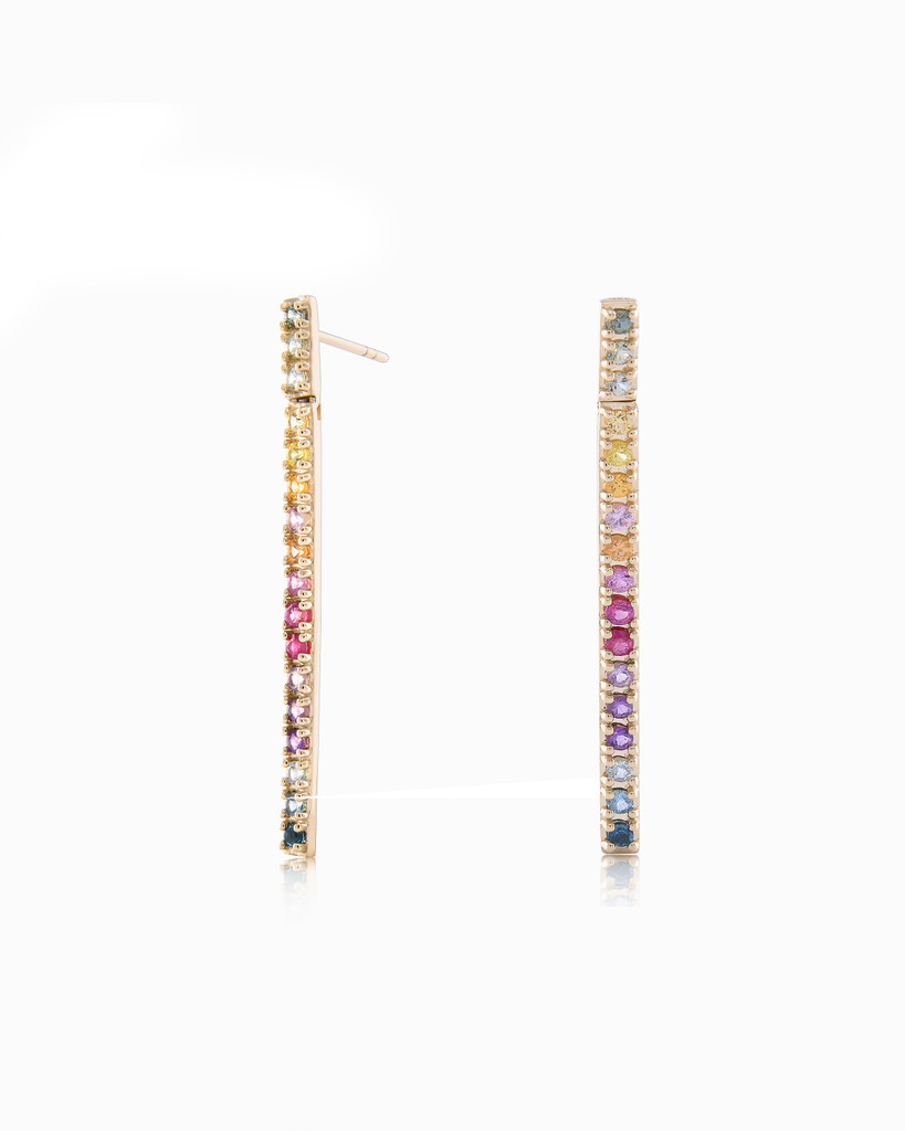 Rainbow Semi Precious Stone 14K Straight Bar Dangle Earrings