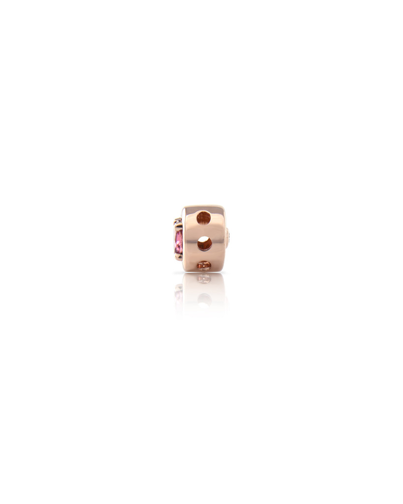Semi-Precious Stone Gold Round Charm with Pink Diamond In 14K Rose Gold