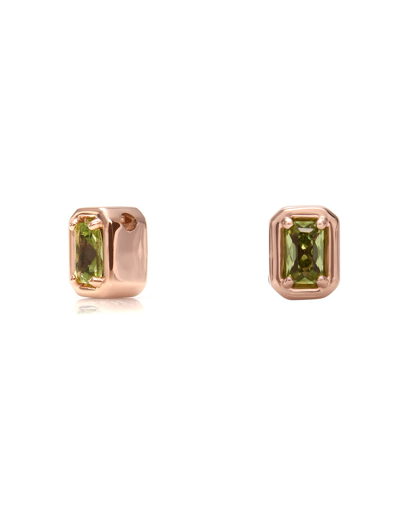 Green Diamond 14K Rose Gold Emerald-Cut Semi-Precious Stone Charm
