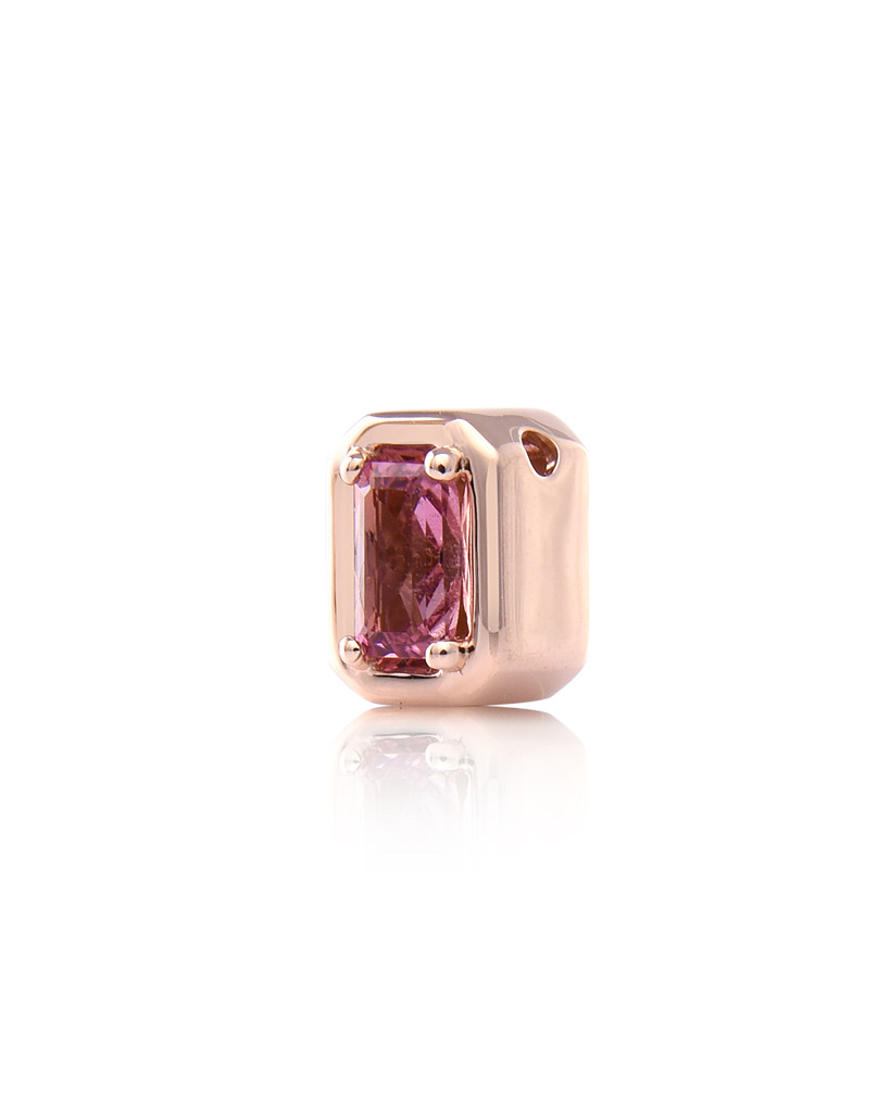 Emerald-Cut Semi-Precious Stone Charm with Pink Diamond In 14K Rose Gold