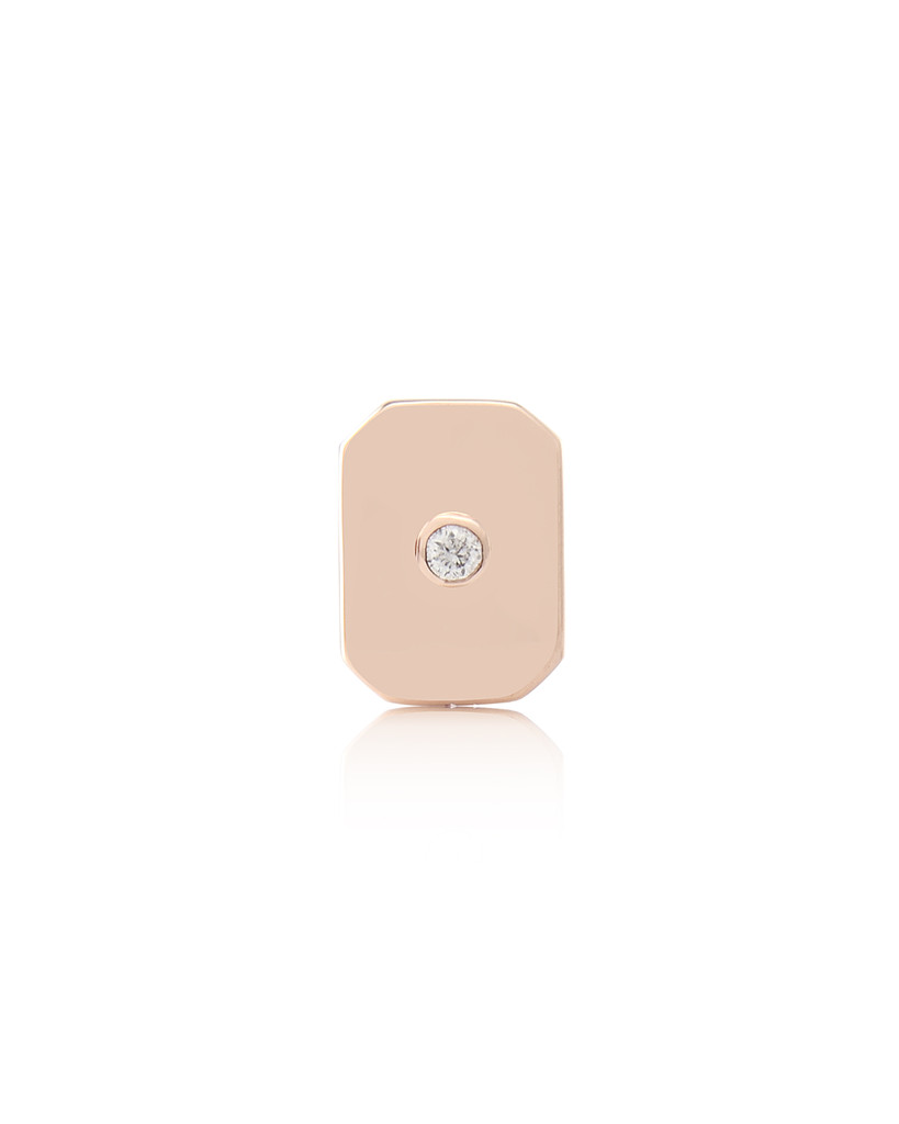 White Diamond 14K Rose Gold Emerald-Cut Semi-Precious Stone Charm
