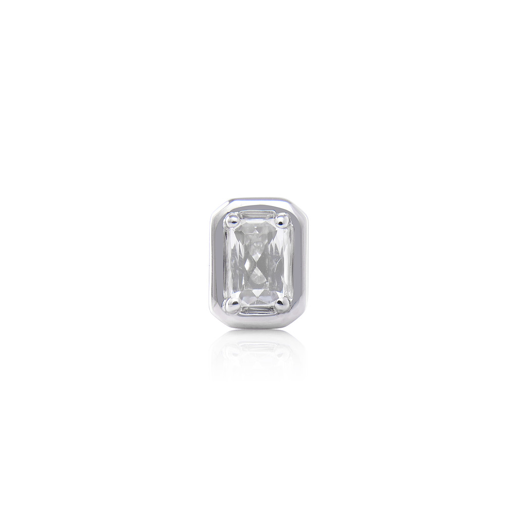 White Topaz 14K White Gold Emerald-Cut Charm with White Diamond