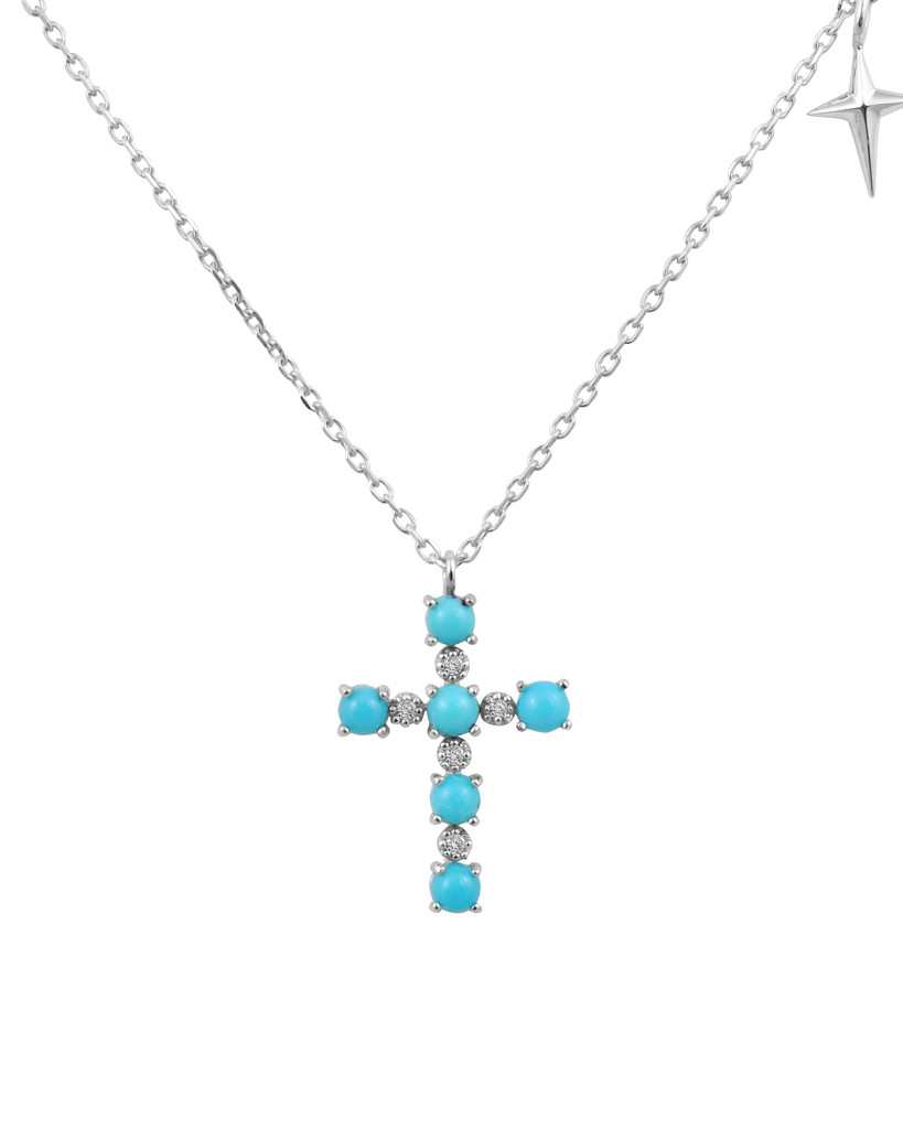 Turquoise Rose-Cut Brilliant Diamond 14K White Gold Cross Necklace with Small Cross Charm