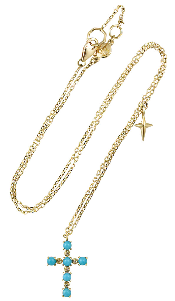 Turquoise and White Diamond 14K Yellow Gold Cross Necklace with Small Cross Charm