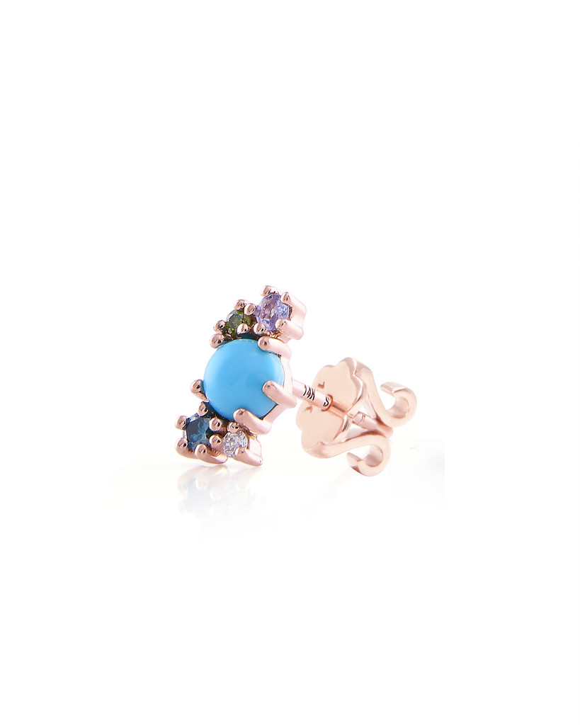 Diamond 14K Rose Gold & Semi-Precious Stone Mini Cluster Climber (Single, Left Ear)