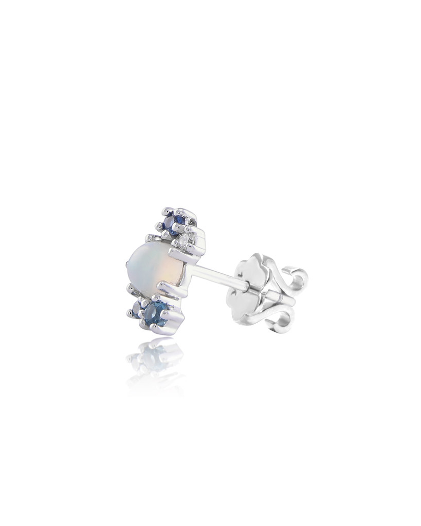 Diamond 14K White Gold & Opal Stone Semi-Precious Mini Cluster Climber (Single, Right Ear)