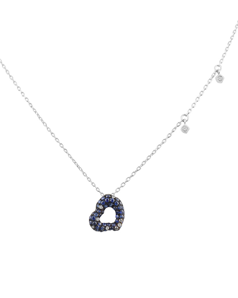 Blue Diamond and Sapphire 14K White Gold Heart Pendant Necklace