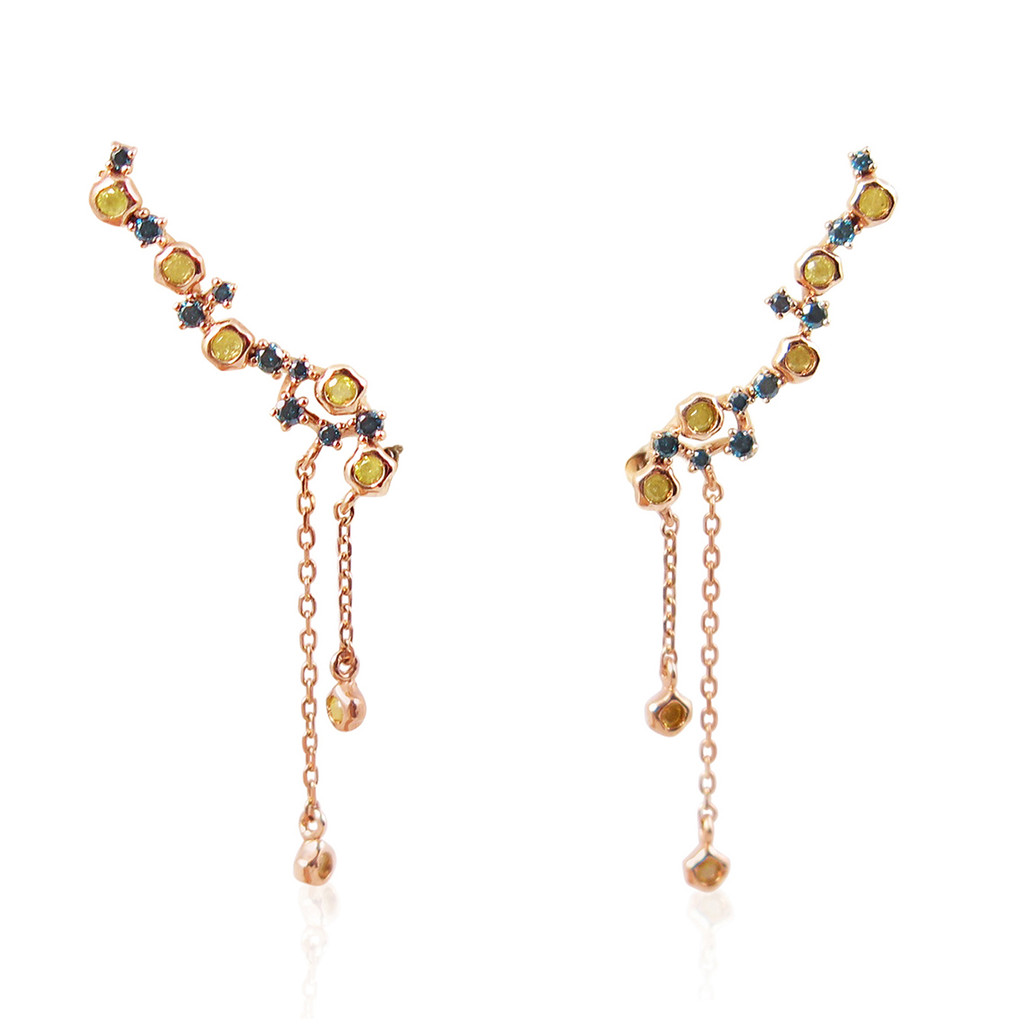 Blue and Yellow Diamond 14K Rose Gold Ear Climbers with Yellow Diamond Accents