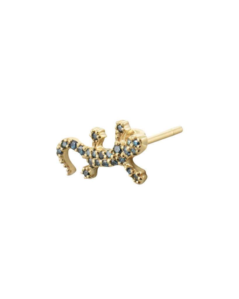 Blue Diamond 14K Yellow Gold Salamander Stud