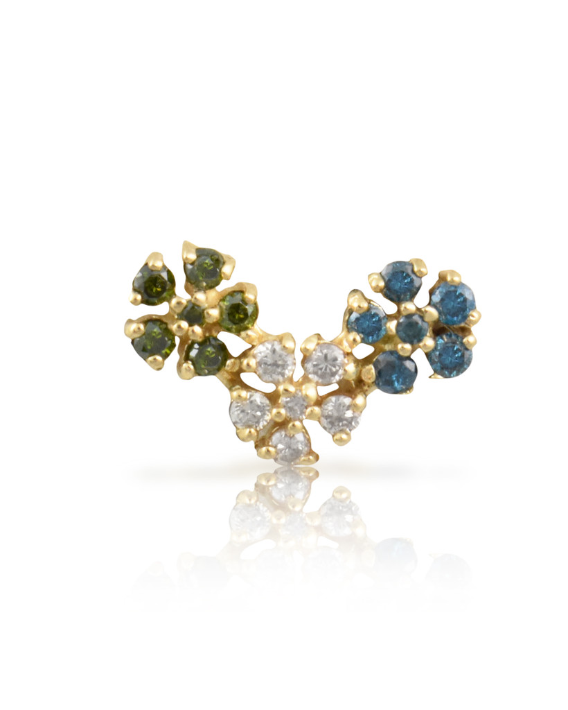 Blue & Green Multi-Colored Diamonds 14K Rose Gold Triple Daisy Single Stud