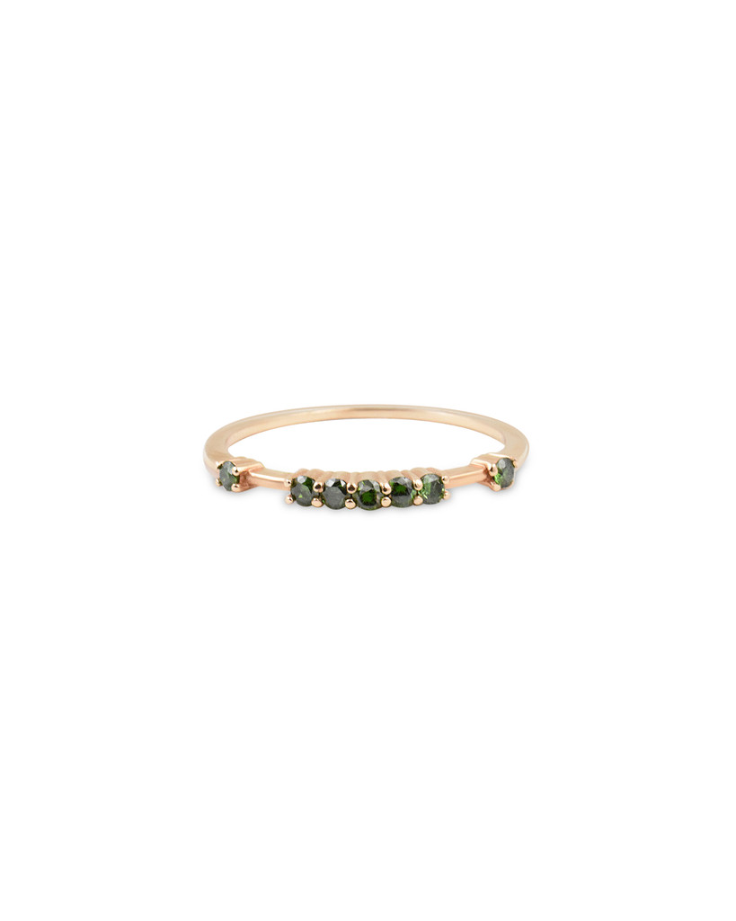 Raised Blue Diamond 14K Rose Gold Stacking Band