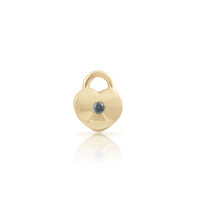 Blue Diamond 14K Yellow Gold Padlock Single Stud