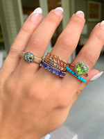 Cool Color Ombre 14K Rose Gold Pyramid Stackable Ring
