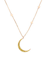 Yellow Diamond 14K Rose Gold Large Crescent Moon Necklace with Stars