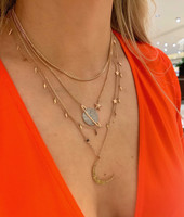 Two-Toned 14K Long Lightening Bolt Necklace