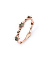 "Green Diamond 14K Rose Gold ""Starburst"" Stacking Band"